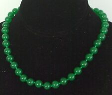 "10MM Green Emerald Gemstone Necklace 18"" NEW (with gift bag)"