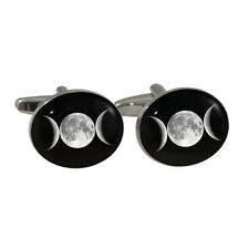 Triple Moon Design Cufflinks goddess wiccan pagan astronomy space New & Boxed