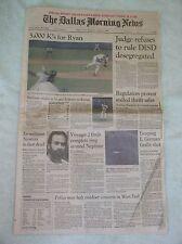 Nolan Ryan 5,000 Strikeout -- Original Dallas Newspaper