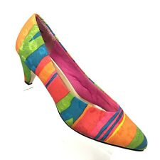 Crystal Fabric Pump Rainbow Multicolor Striped Party Heel 80s Womens Size 8.5 N