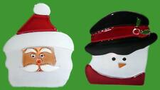 Partylite Candle Holder Pair Santa Snowman for Tea Lights - Retired P9466
