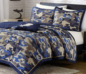 4pc Full/Queen BLUE CAMO QUILT SET : CAMOUFLAGE MILITARY ARMY COVERLET HUNT