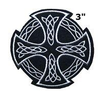 CELTIC CROSS iron-on PATCH embroidered IRISH CHRISTIAN RELIGIOUS EMBLEM JESUS