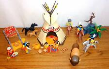 Playmobil LOT Native American Camp Teepee Canopy Horses Buffalo Papoose Bearskin