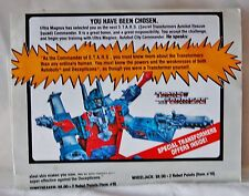 RARE! 1986 G1 Transformers Autobots Special Mail in Offer Form Insert *Unused*