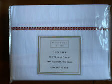 Westport Home King Duvet Set 300 Tc White Embroidered Circles Spice Soft Sateen