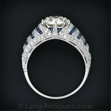 Women 925 Silver White Topaz Blue Sapphire Ring Wedding Engagement Party Jewelry