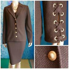 ST. JOHN Collection Knits Brown Jacket Dress L 10 2pc Suit Buttons Gold Hardware