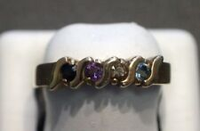 14 K Yellow Gold Multi Color Gemstones Ring Band Size 8.25