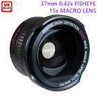 37mm 0.42x AF WIDE ANGLE FISHEYE LENS + 15X Macro Lens Clip-on iphone Camera Kit