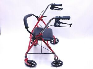 DRIVE Heavy Duty Bariatric Walker Rollator W/ Padded Seat Red Back Rest Mobility