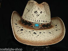 Cowboy Hut Strohhut Tex Mex,Western Hat,Country Mütze Trapper Cap Hawaii beige o