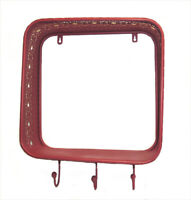 Lace Metal Wall Shelves With 3 Hooks Coral