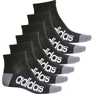 6 Pack Adidas Superlite BLACK WHITE LOGO MEN QUARTER CREW Socks Large 6-12