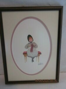"1988 P Buckley Moss ""FIRST SCARF"" Ltd Ed 464/1000, 10"" x 7 1/8"" Knitting"