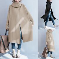 ZANZEA Womens Turtleneck Neck Casual Loose Tench Coats Ladies Outwears Plus Size