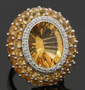 Heavy 18K WG 15.62CTW diamond/16.5 X 12.5mm Oval citrine cocktail ring size 6