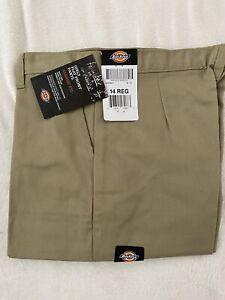 Dickies Girls Flat Front Pants Khaki 14 Regular Classic Fit Uniform
