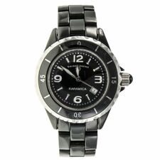 NEW WOMENS SWISS LEGEND SL-10049-BKBSA SAPPHIRE CERAMIC QUARTZ BATTERY WITH DATE