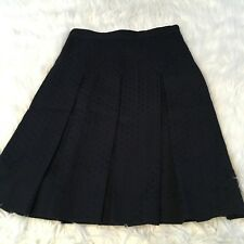 Milly Women's Skirt Size 0 Navy Pleated Textured Career Cocktail 100% Cotton