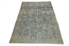 Vintage Turkish Oushak Rug 7x10.3 Floral Distressed Handmade Turkey Beige Gray
