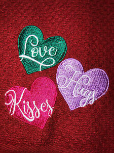 Embroidered Red Kitchen Hand Towel Love Hugs Kisses Valentine's Day Theme