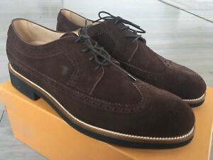 550$ Tod's Brown Derby Bucature Suede Laces Up Size US 12 Made In Italy