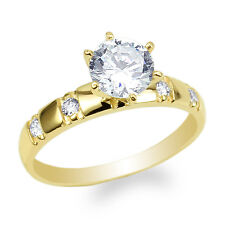 Womens 14K Yellow Gold Round CZ Wedding Pattern Solitaire Ring Size 4-10