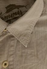 TOMMY BAHAMA Medium Relax Men's Shirt Tan Beige Pinstripe Cotton Button Front