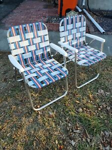 Set of 2 Vintage Aluminum Beach Lawn Chairs Outdoor Folding Chairs Nylon Webbed.