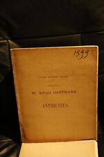 Catalogue vente enchère Hartmann 1899