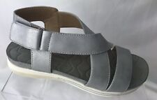 Adrienne Vittadini Womens Sandals Cory Flat Thick Straps Silver Size 6.5