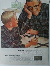 1963 Pendleton mens boys clothing flannel shirt playing dominoes Ted Rand art ad