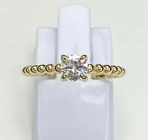 White Topaz Gold Plated Sterling Silver Ring, Size M, US 6.25, Gems Tv/ Gemporia