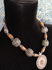 Antique Yemeni Jewish Bowsani Silver Filigree Globes & Silver Pendant Necklace