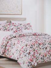 NICOLE MILLER 300TC Cotton White Pink Blue Watercolor Floral Duvet Set - King