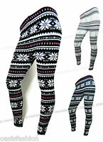 NEW WOMENS  SNOWFLAKE AZTEC NORDIC FAIRISLE THICK WARM KNITTED LEGGINGS PANTS