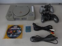TESTED Playstation 1 PS1 Console System W/ Memory Card Cords 2 Controller & Game