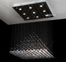 "W23.6"" Modern Crystal Light Lamp Chandelier Square Pyramid Lighting Fixture"