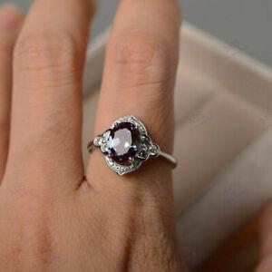 2.3CT Oval Cut Alexandrite & Diamond Art Deco Ring for Women 18K White Gold Over