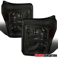 For 2011-2016 Ford F250 F350 F450 F550 Super Duty Smoke Headlights Lamps Pair