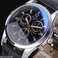 Mode Men's Military Date Leather Stainless Steel Sports Quartz Wrist Watch New