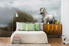 Kids room wall mural photo wallpaper White Wild Horse FREE adhesive Feature wall