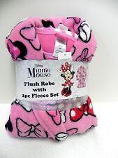 NWT Disney's Licensed 3-Piece Plush Robe & Fleece Pajama Set, Minnie Mouse 6 (S)