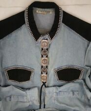 Denim Cotton Shirt Womens Size Small Faux Suede Metal Studs Snap Button USA Made