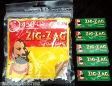 ZIG ZAG LARGE Bag - 450 SLIM Filter Tips & 5 Booklet of ZIG ZAG GREEN Papers