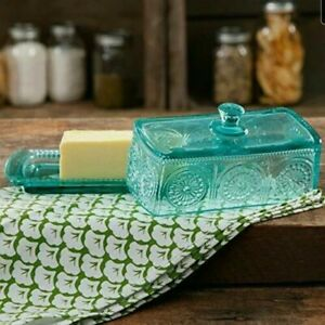 """The Pioneer Woman Butter Dish Teal Adeline Embossed Glass New 2 Pieces 7.5"""""""