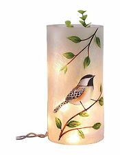 Transpac Small Round Glass Bird Vase with LED Lights