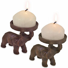 2 Elephant Church Candle Holders African Indian Hindu Ornament Decoration