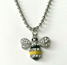 """Silver Crystal Bumble Bee Necklace Pendant 18-20"""" Plated Yellow Enamel"""